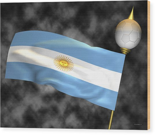 Football World Cup Cheer Series - Argentina Wood Print by Ganesh Barad
