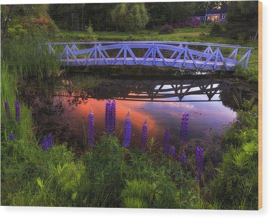 Footbridge Sunset Wood Print