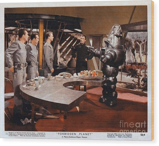 Forbidden Planet Amazing Poster Inside With Scientist Wood Print