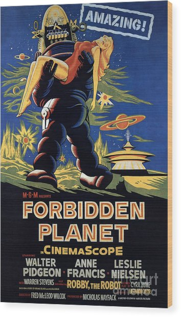 Forbidden Planet Amazing Poster Wood Print