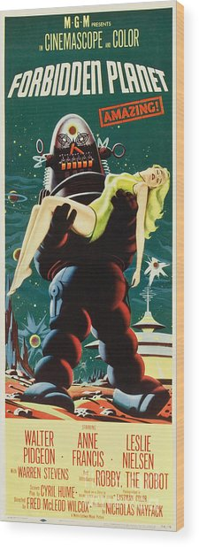 Forbidden Planet In Cinemascope Retro Classic Movie Poster Portraite Wood Print