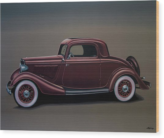 Ford 3 Window Coupe 1933 Painting Wood Print