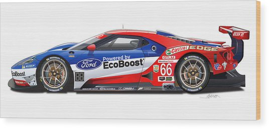 Ford Gt Le Mans Illustration Wood Print