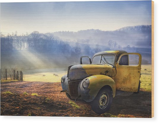 Ford In The Fog Wood Print