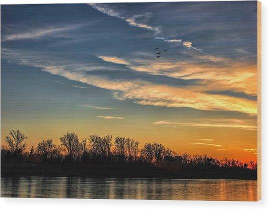 Ford Lake Sunset Wood Print