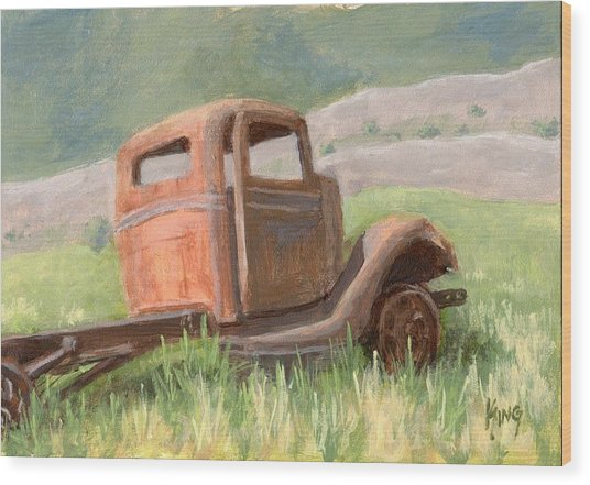 Ford On The Range Wood Print