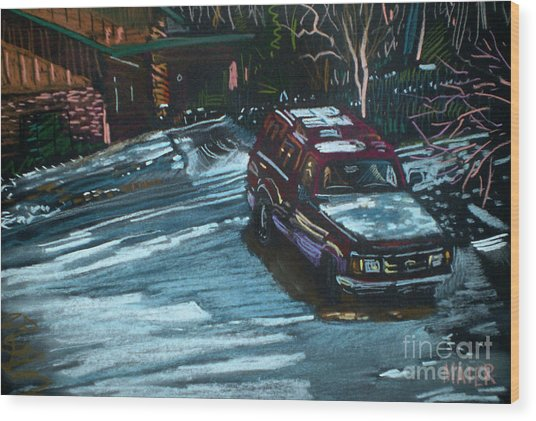 Ford Range In The Snow Wood Print by Donald Maier