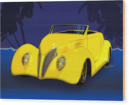 Ford Roadster 1937 In The Palms Wood Print