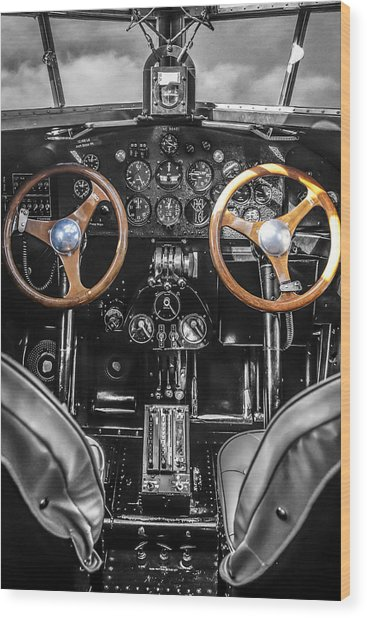 Ford Trimotor Cockpit Wood Print