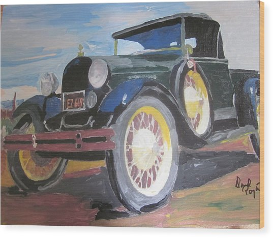 Ford Truck Wood Print by David Poyant Paintings