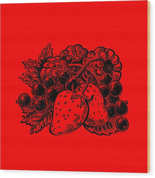 Forest Berries Wood Print