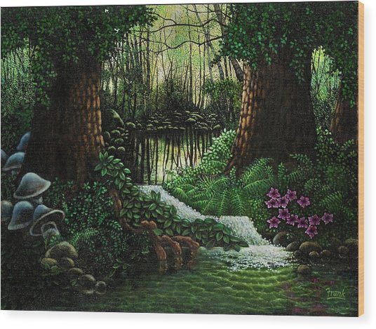 Forest Brook Wood Print