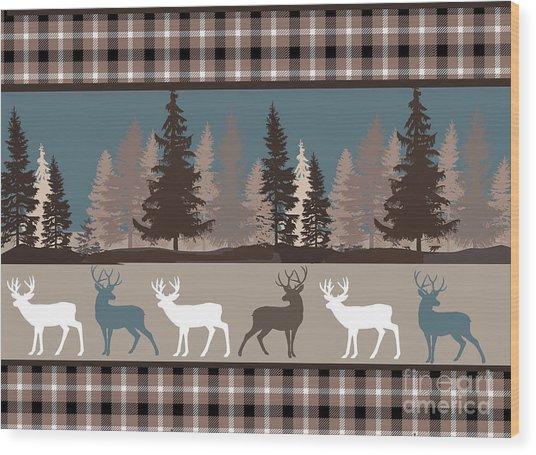 Forest Deer Lodge Plaid II Wood Print