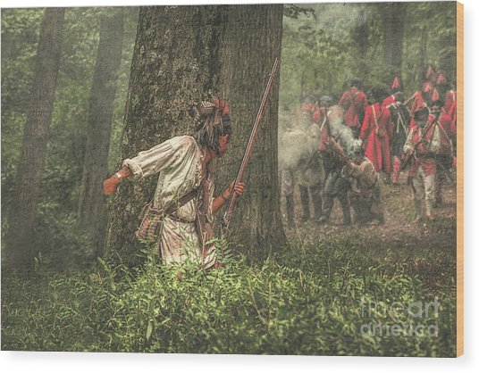 Forest Fight Wood Print