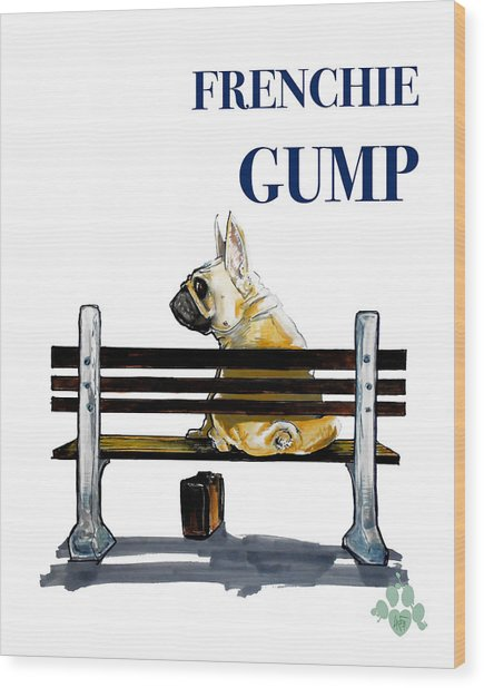 Forest Gump French Bulldog Caricature Art Print Wood Print