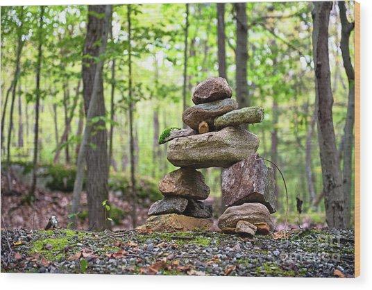 Forest Inukshuk Wood Print