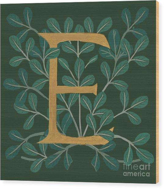Forest Leaves Letter E Wood Print
