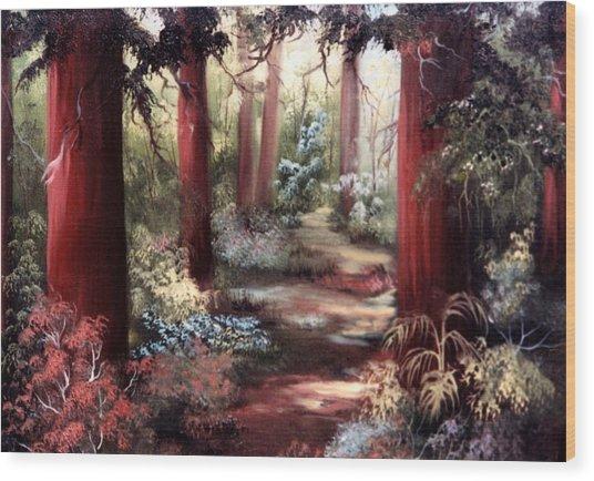 Forest Path Wood Print by Joni McPherson