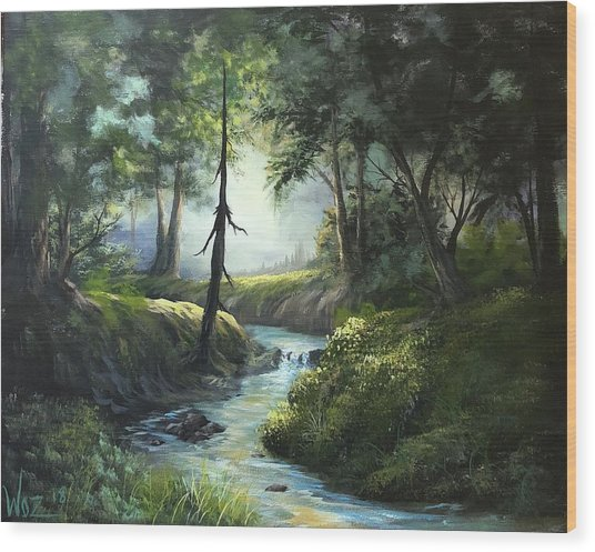 Forest River  Wood Print by Paintings by Justin Wozniak