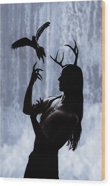 Forest Spirit Wood Print by Cambion Art