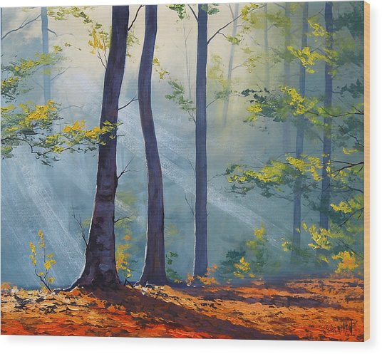 Forest Sunrays Wood Print