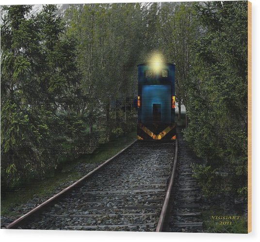 Forest Train Wood Print