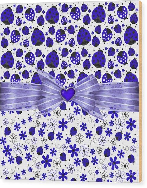 Forever Blue Ladybugs Wood Print