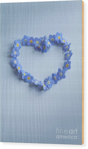 Forget Me Not Heart Wood Print
