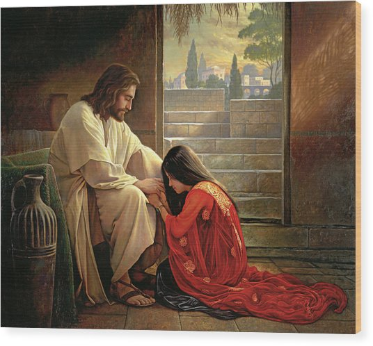 Wood Print featuring the painting Forgiven by Greg Olsen