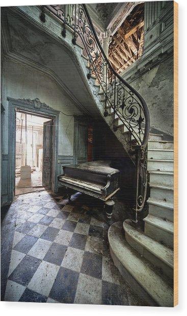 Forgotten Ancient Piano - Urban Exploration Wood Print