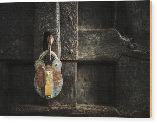 Wood Print featuring the photograph Forgotten Lock by Ryan Wyckoff