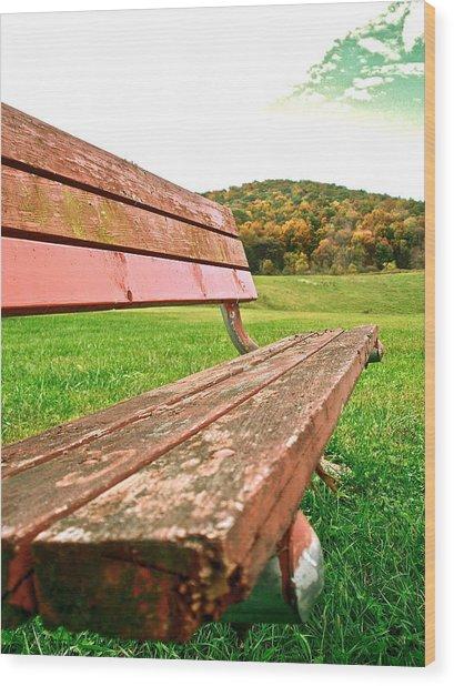 Forgotten Park Bench Wood Print by Jennifer Addington