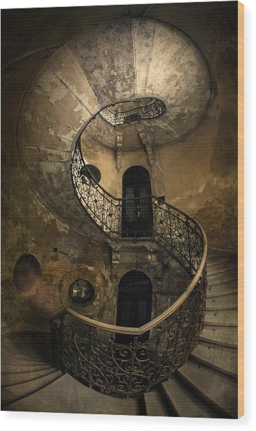 Forgotten Staircase Wood Print