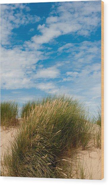 Formby Sand Dunes And Sky Wood Print