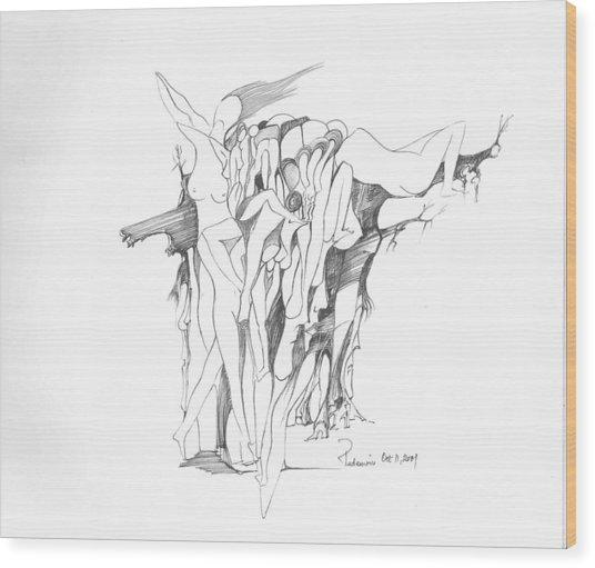 Forms Wood Print by Padamvir Singh