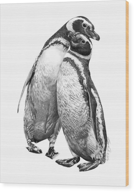Forrest And Jenny The Penguins Wood Print