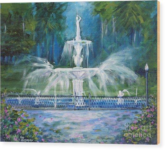 Forsyth Fountain In Savannah Wood Print