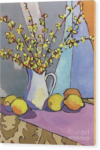 Forsythia And Lemons Wood Print by Catherine Martzloff