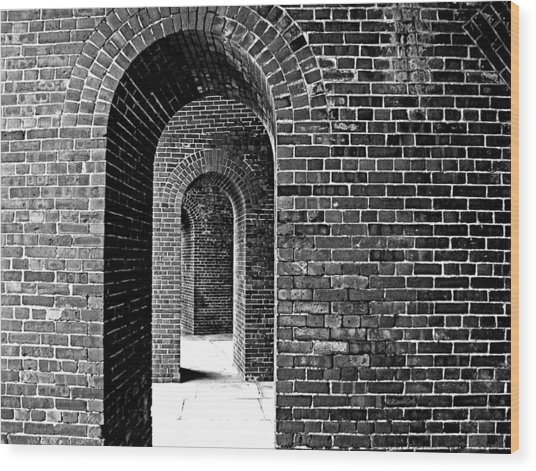 Fort Arches In Black And White Wood Print