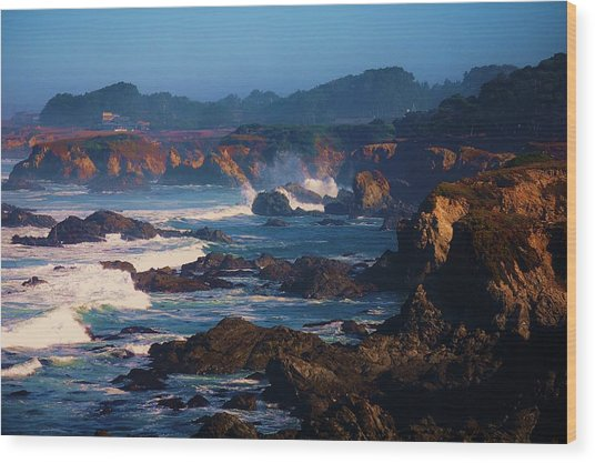 Fort Bragg Coastline Wood Print by Helen Carson