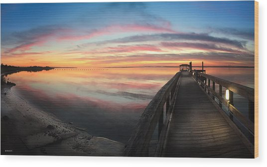 Fort Fisher Sunset Reverie With Heron Wood Print