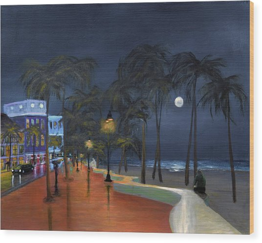 Fort Lauderdale Beach At Night Wood Print