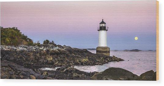 Fort Pickering Lighthouse, Harvest Supermoon, Salem, Ma Wood Print