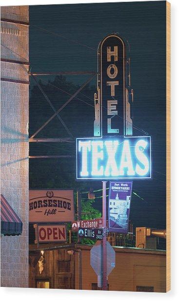 Fort Worth Hotel Texas 6616 Wood Print