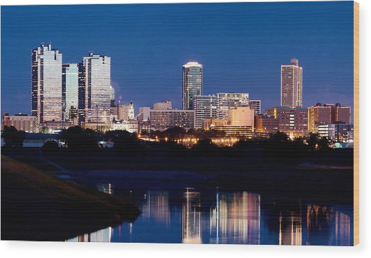 Fort Worth Skyline At Night Poster Wood Print