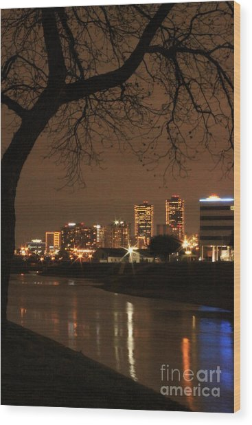 Fort Worth Skyline Wood Print