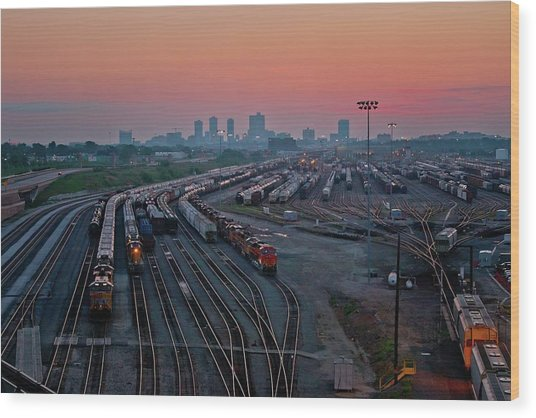 Fort Worth Trainyards Wood Print