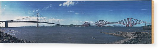 Forth Road And Railway Bridges Wood Print by Donald Buchanan