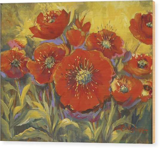 Fortuitous Poppies Wood Print
