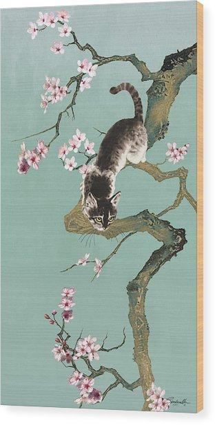 Fortune Cat In Cherry Tree Wood Print